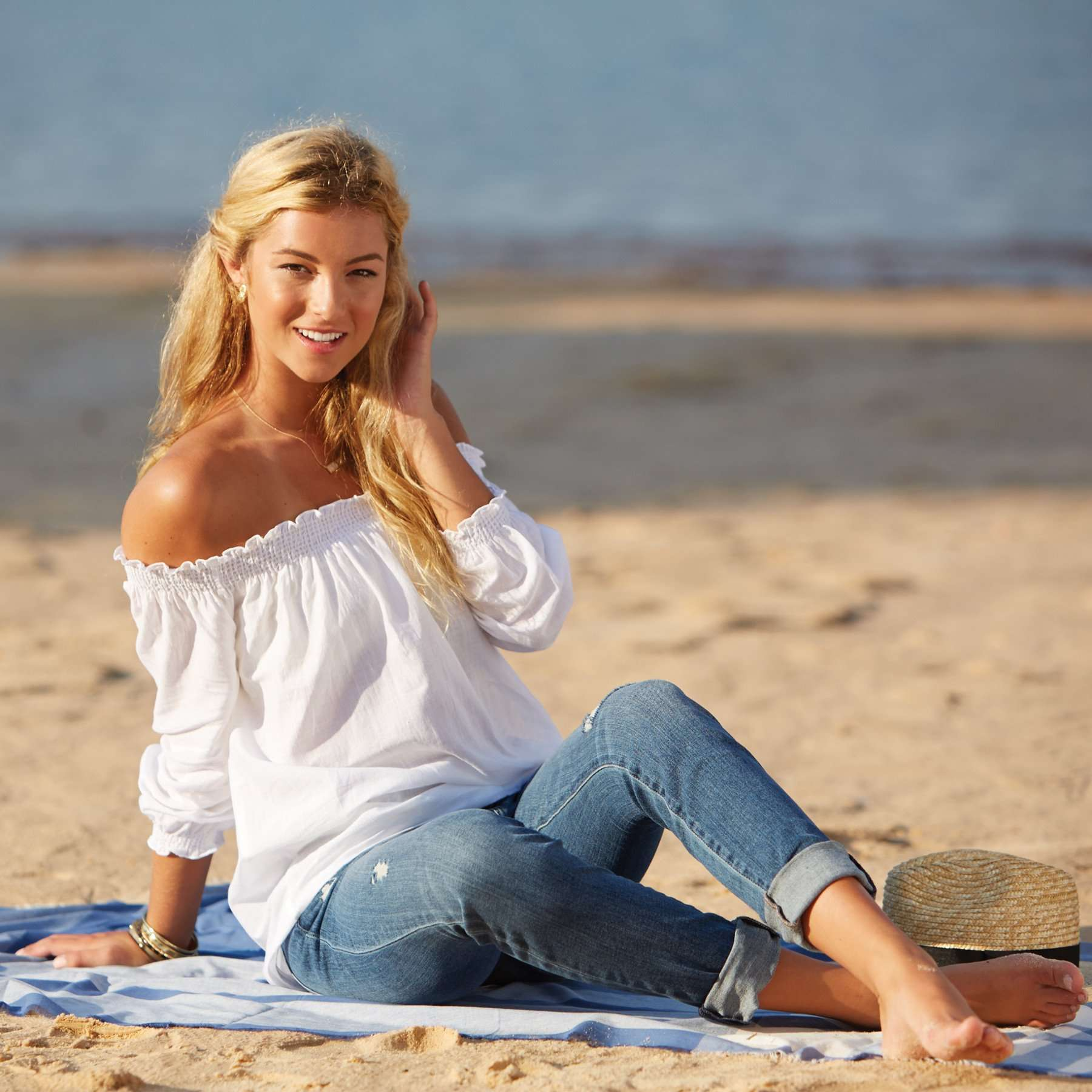 Foster Off the Shoulder Top in White by Mud Pie