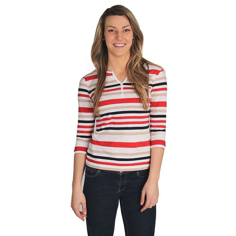 Women's Tops - Francoise Shirt In White, Red And Navy Stripes By Saint James - FINAL SALE