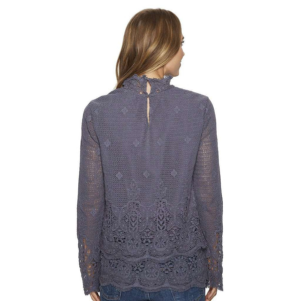 Fringed Crochet Long Sleeve Double Layer Pullover in Carbon by True Grit (Dylan) - FINAL SALE