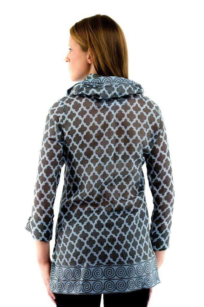 Women's Tops - Funnel Tunic In Moorish Charcoal/Blue By Gretchen Scott Designs - FINAL SALE