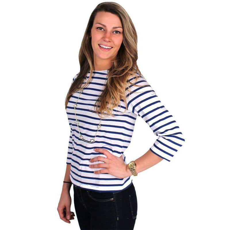 Women's Tops - Galathée Shirt In White With Navy Stripes By Saint James