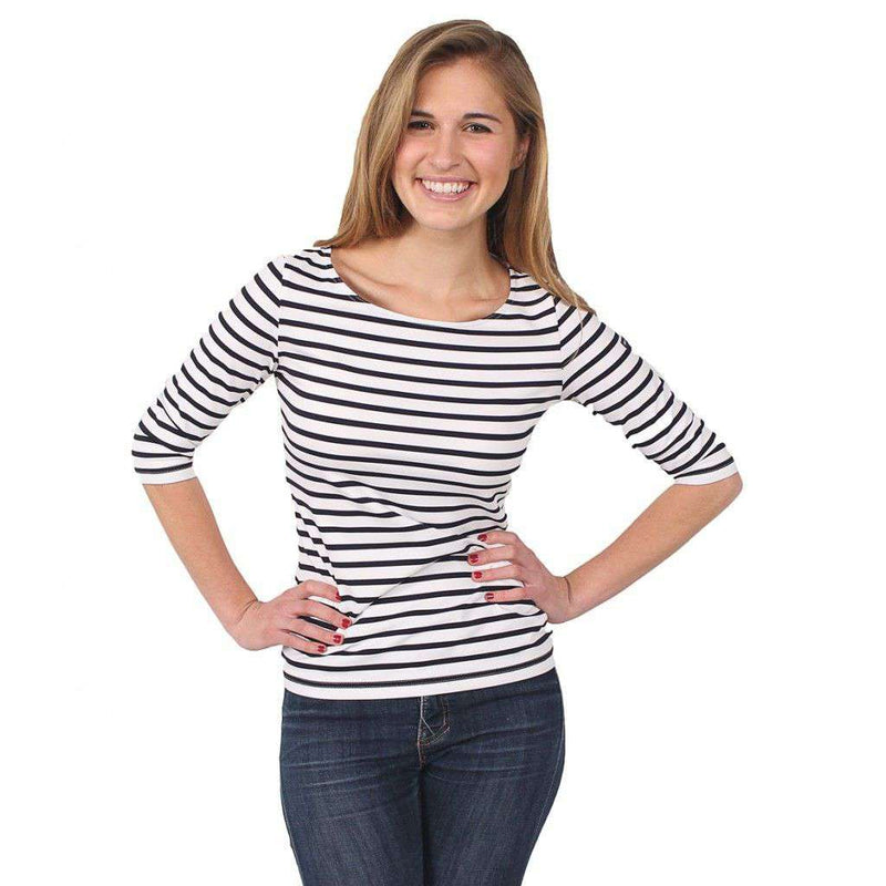 Women's Tops - Garde-Cote III R Shirt In White With Navy Stripes By Saint James