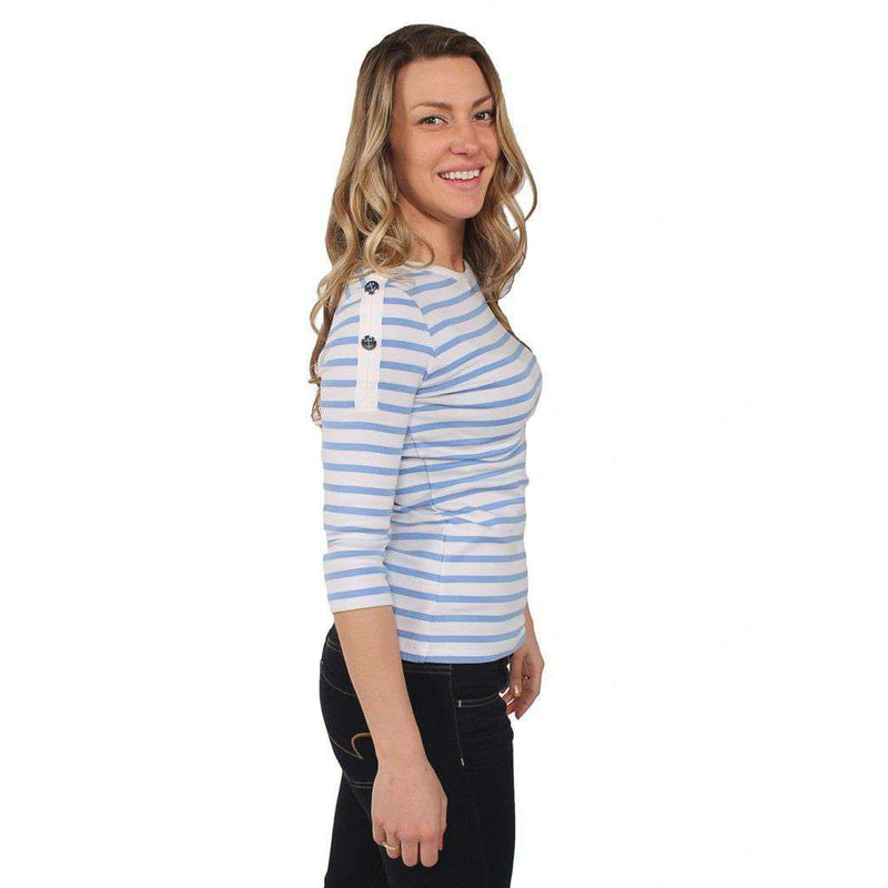 Gwenaelle Shirt in White with Light Blue Stripes by Saint James