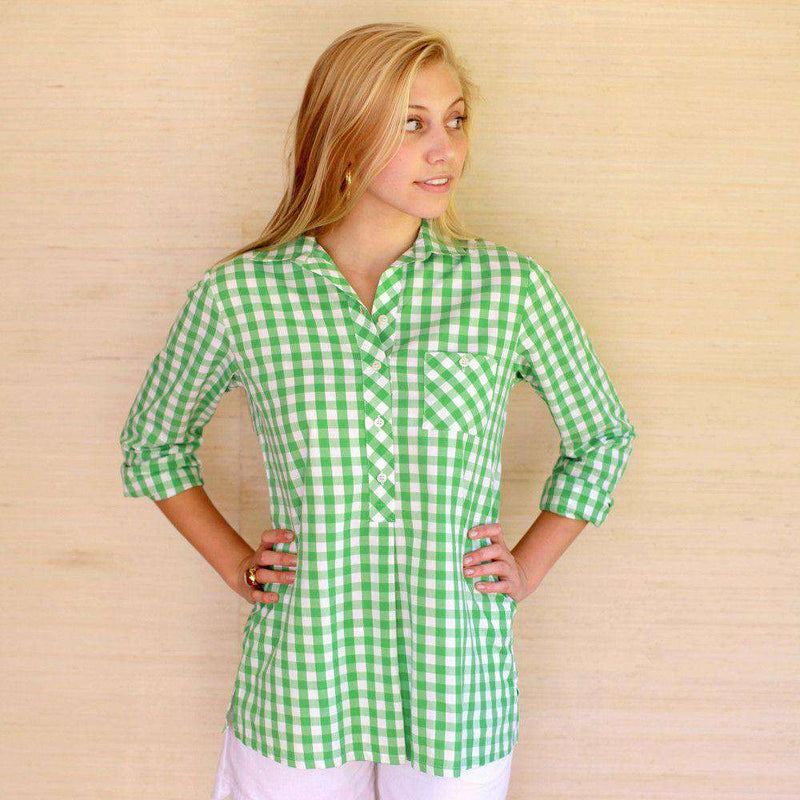 Women's Tops - Jordan Shirt In Green Gingham By Kayce Hughes