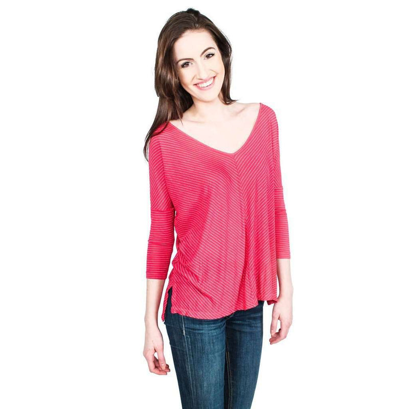 Women's Tops - Live Fully Top In Antique Rose Stripes By Beyond Yoga