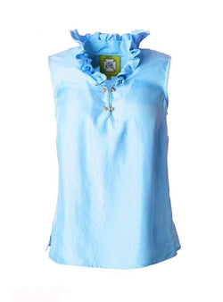 Women's Tops - McKay Blouse In Carolina Blue By Elizabeth McKay - FINAL SALE