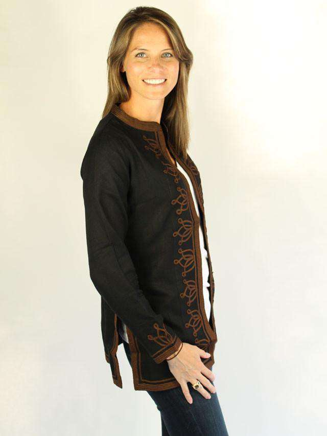 Women's Tops - Pashmina Viscose Moroccan Jacket In Black With Brown By Gretchen Scott Designs - FINAL SALE