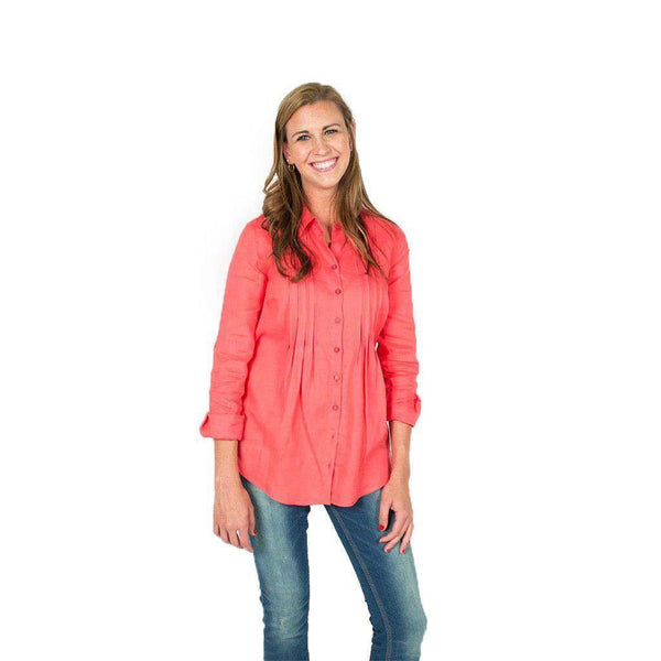 Women's Tops - Pin Tuck Linen Shirt In Raspberry By Tyler Boe - FINAL SALE