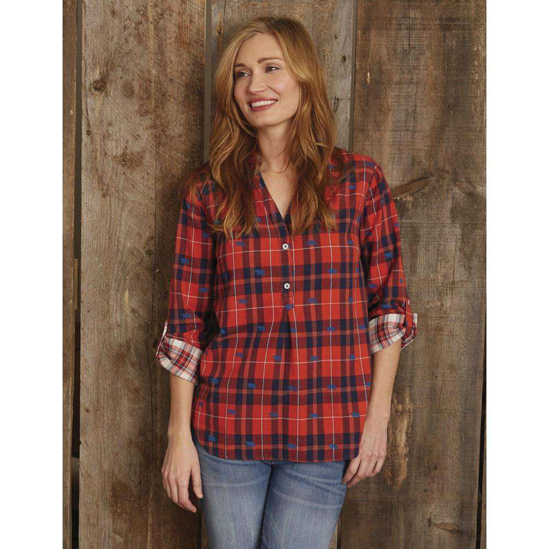 Pop Over Tunic in Red Plaid with Bears by Hatley - FINAL SALE