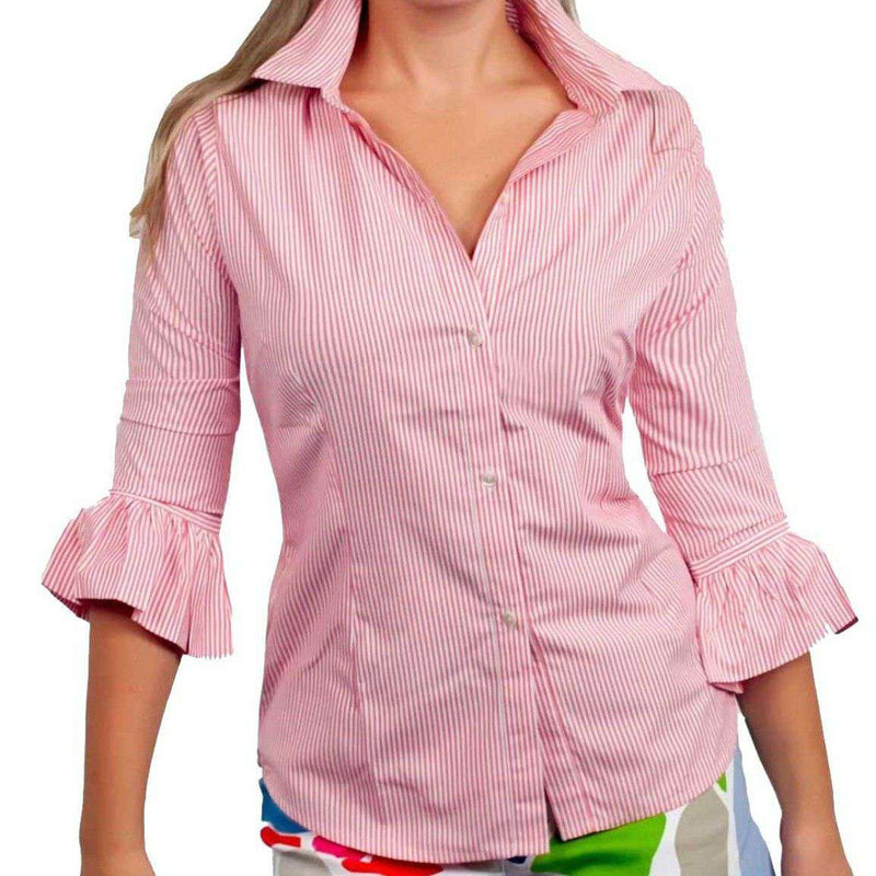 Women's Tops - Priss Brooks Blouse In Coral By Gretchen Scott Designs - FINAL SALE