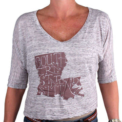 Women's Tops - Southern State Of Mind Louisiana Tee In Grey By Geneologie - FINAL SALE