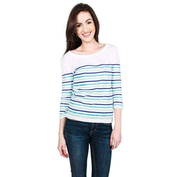 Striped Long Sleeve Slub Tee in Blue and Green by Hiho - FINAL SALE