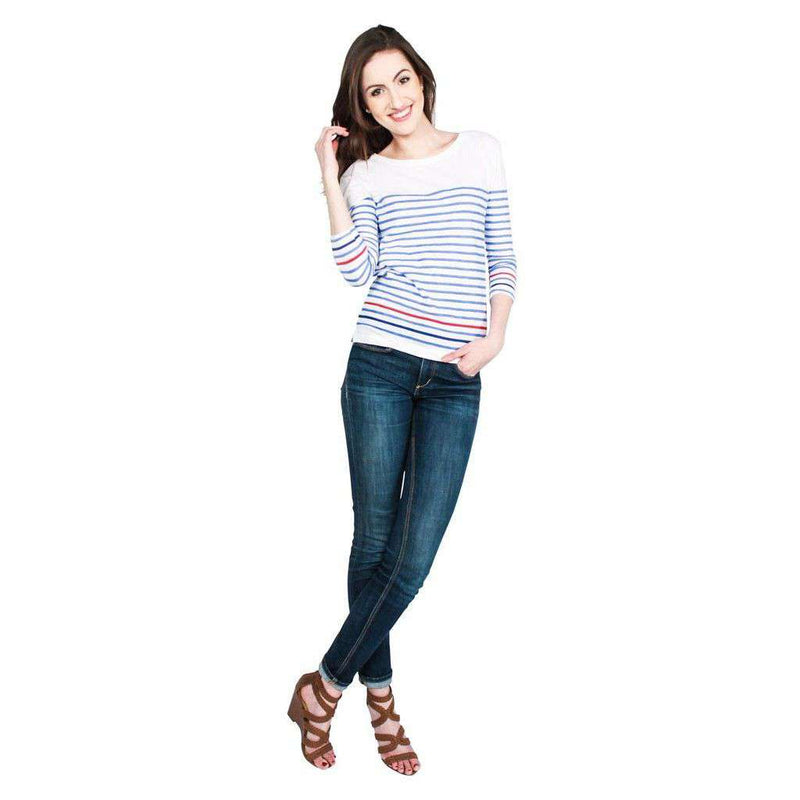Striped Long Sleeve Slub Tee in Caribbean Blue and Red by Hiho - FINAL SALE