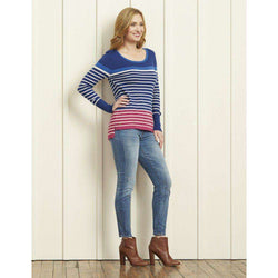Women's Tops - Striped Sweater In Navy And Cobalt By Hatley - FINAL SALE