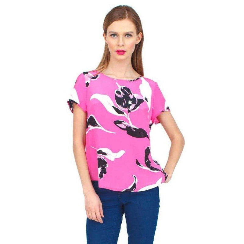 T for Two T-Shirt Top in Neon Pink Tulip Splash by Yumi Kim - FINAL SALE