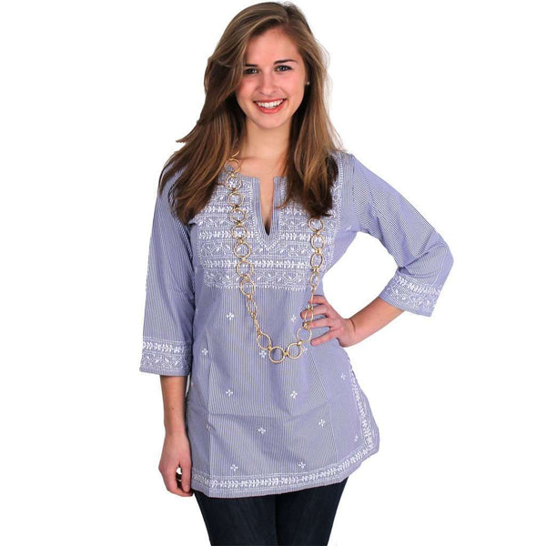 The Brooks Tunic in Blue and White by Gretchen Scott Designs - FINAL SALE