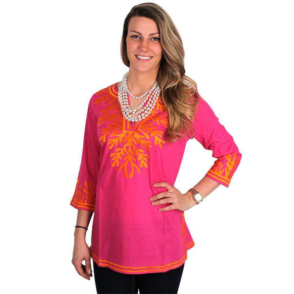 The Reef Tunic in Fuchsia and Orange by Gretchen Scott Designs - FINAL SALE