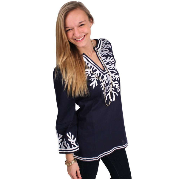 The Reef Tunic in Navy and White by Gretchen Scott Designs - FINAL SALE