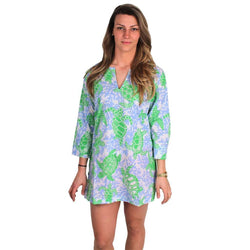 Women's Tops - Turtle Traffic Tunic In Blue And Green By Gretchen Scott Designs - FINAL SALE