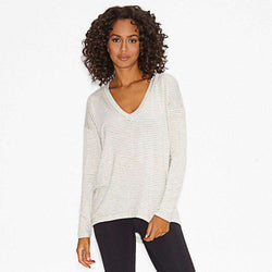 Women's Tops - Virtuous V-Neck Pullover In Light Grey Stripes By Beyond Yoga - FINAL SALE