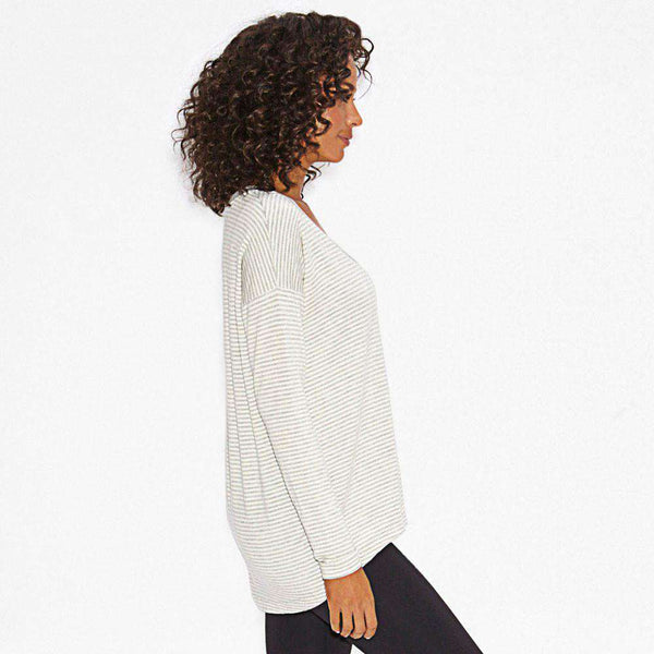 Virtuous V-Neck Pullover in Light Grey Stripes by Beyond Yoga - FINAL SALE