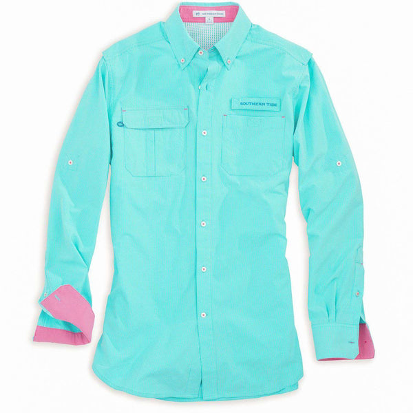 Women's Tops - Women's Sullivan Fishing Shirt In Crystal Blue Check By Southern Tide