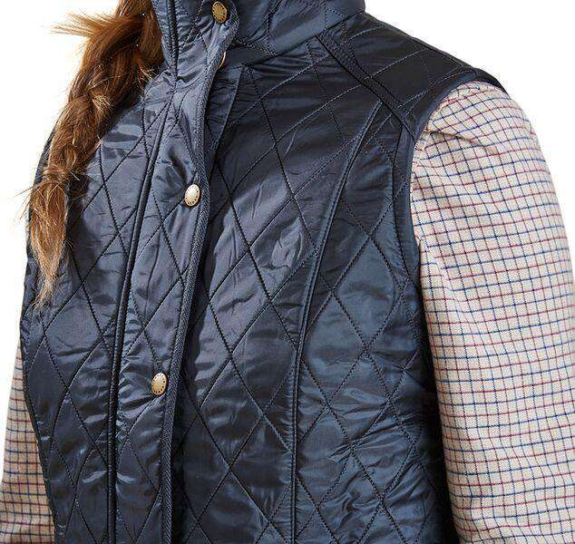 Women's Vests - Cavalry Quilted Gilet In Navy And Red By Barbour