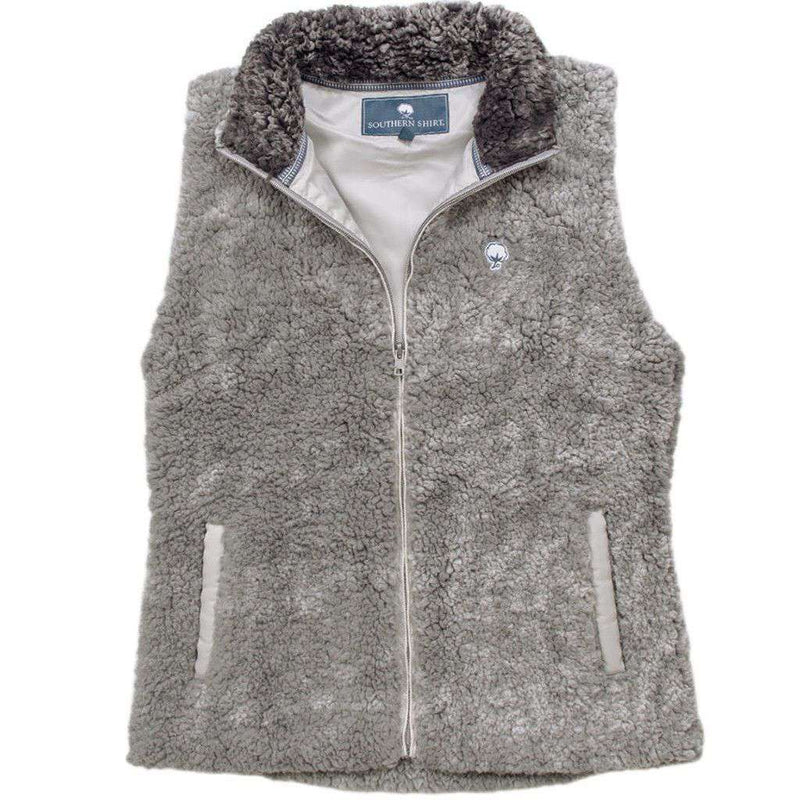 Heathered Zip Sherpa Vest in Moon Mist by The Southern Shirt Co. - FINAL SALE