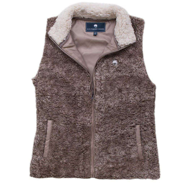 Heathered Zip Sherpa Vest in Walnut by The Southern Shirt Co. - FINAL SALE