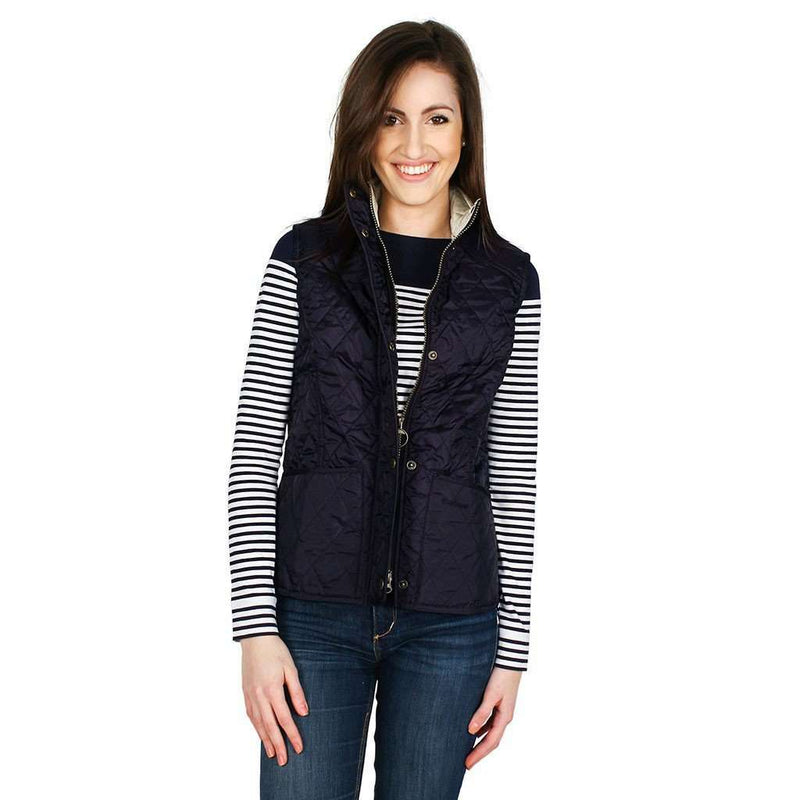 Summer Liddesdale Gilet in Navy/Pearl by Barbour