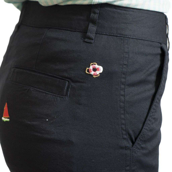 Women's Bermuda Short in Nantucket Navy with Embroidered Rainbow Fleet by Castaway Clothing - FINAL SALE