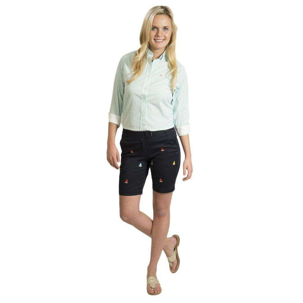 Women's Bermuda Short in Nantucket Navy with Embroidered Rainbow Fleet by Castaway Clothing  - 1