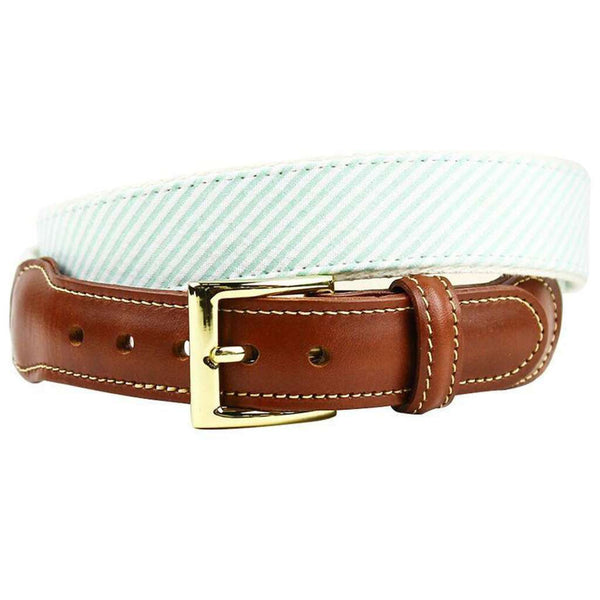 Seersucker Leather Tab Belt in Palm Teal Green by Country Club Prep