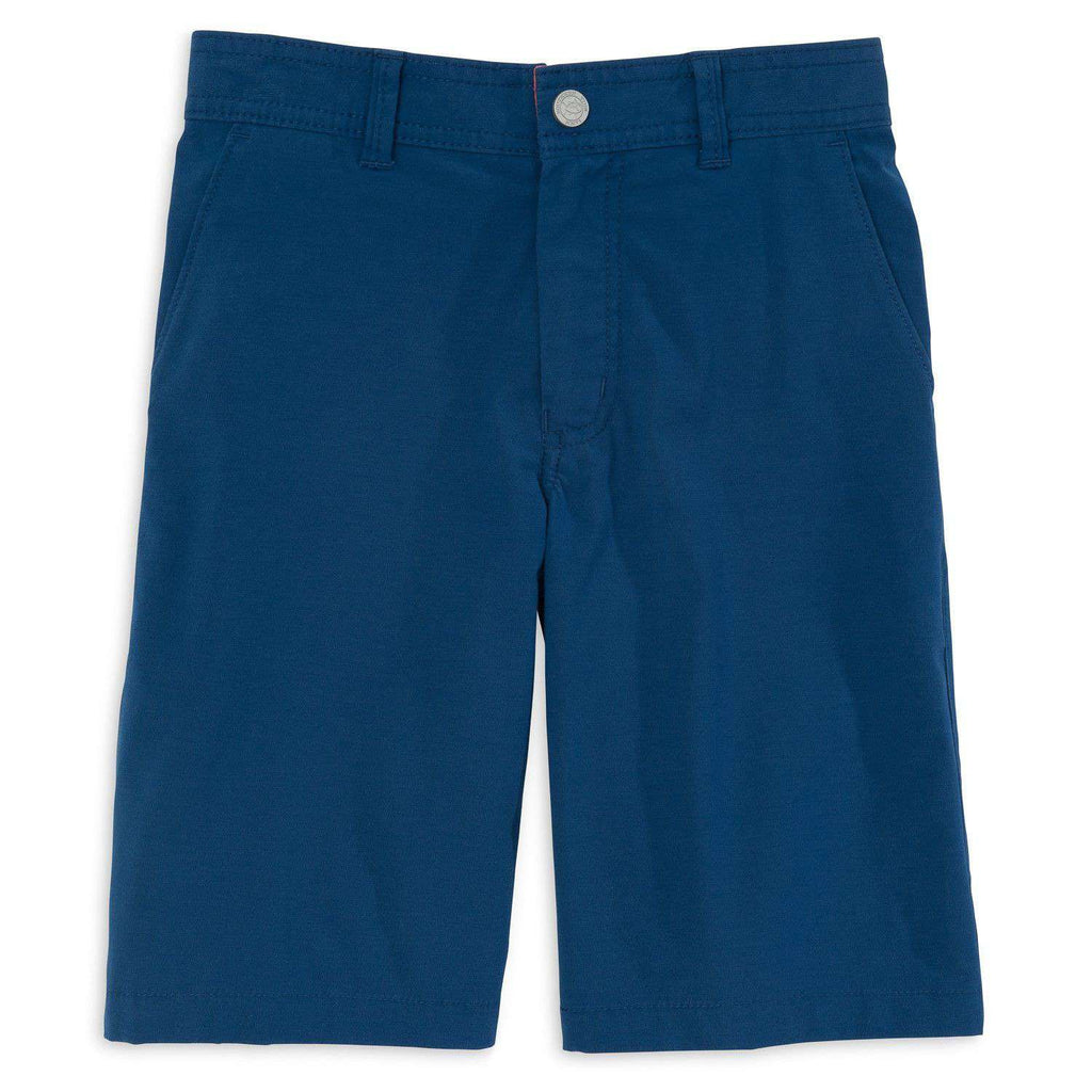 Youth Tide to Trail Performance Shorts in Yacht Blue by Southern Tide