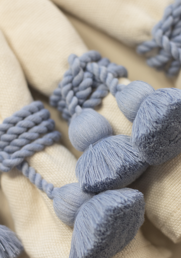 Raw Cotton Napkins and Light Blue Napkinrings
