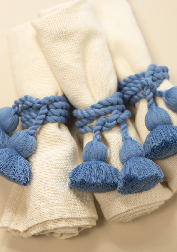 Raw Cotton Napkins and Blue Napkinrings