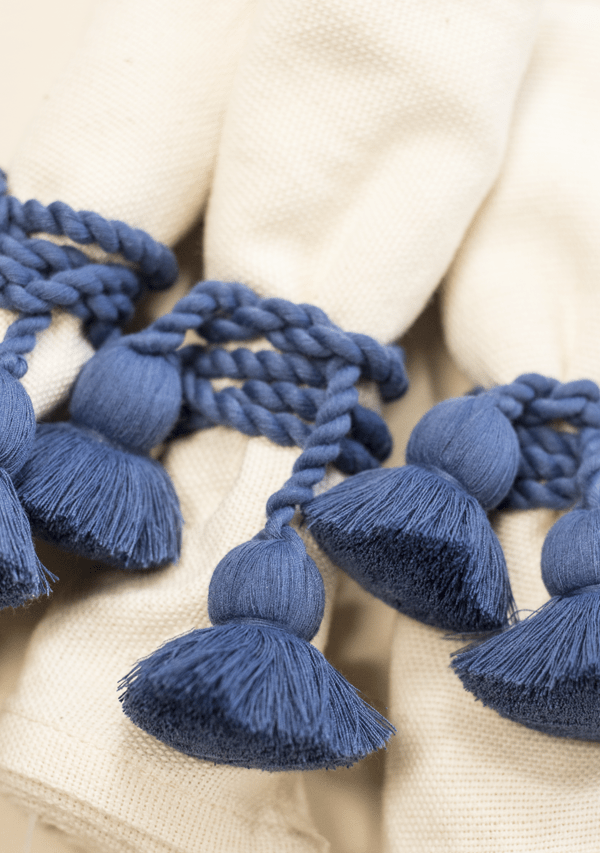 Raw Cotton Napkins and Navy Blue Napkinrings - Lula Mena