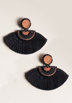 Black Double Moon Earrings