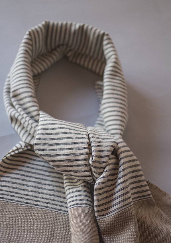 Light Brown Handwoven Scarf With Grey Strippes - Lula Mena