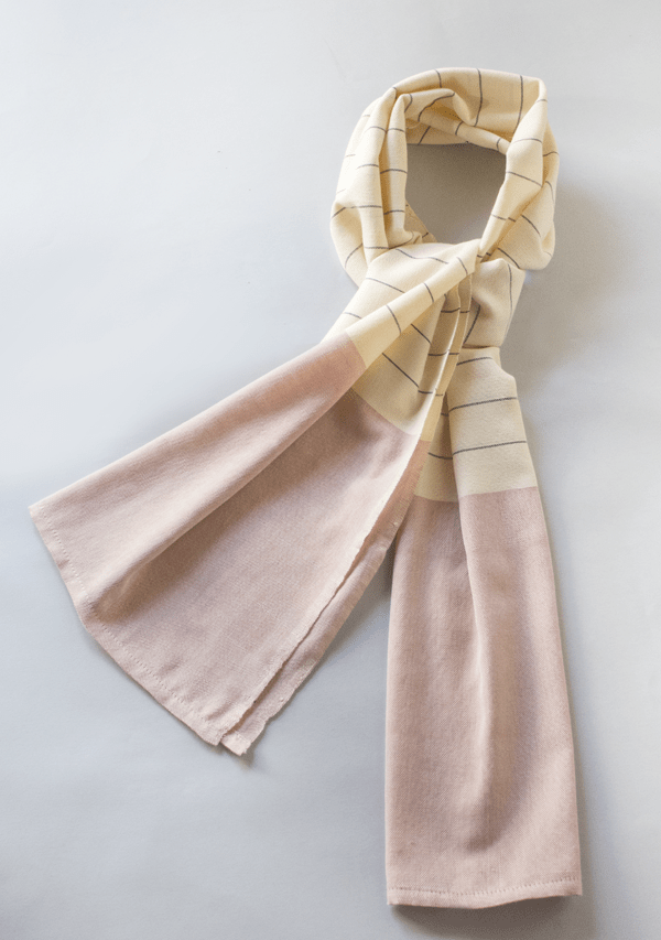 Light Pink Handwoven Scarf With Grey Strippes
