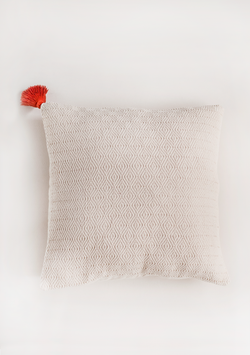 White Square Pillow with Red Tassel - Lula Mena