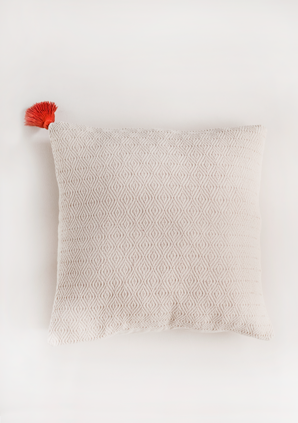White Square Pillow with Red Tassel