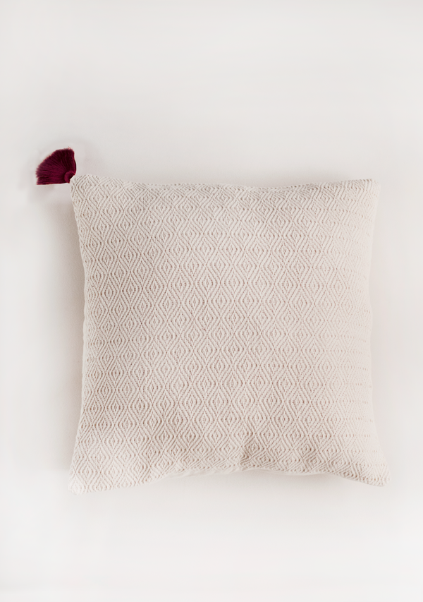 White Square Pillow with Burgundy Tassel - Lula Mena