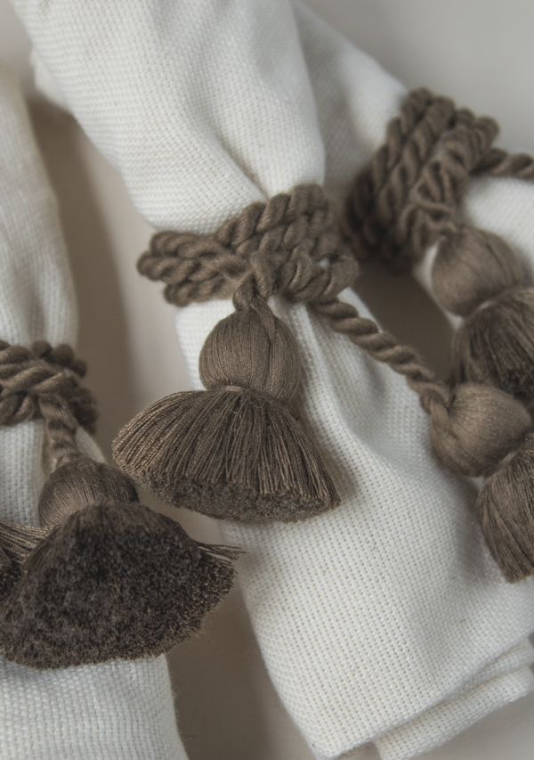 Raw Cotton Napkins and Brown Napkinrings