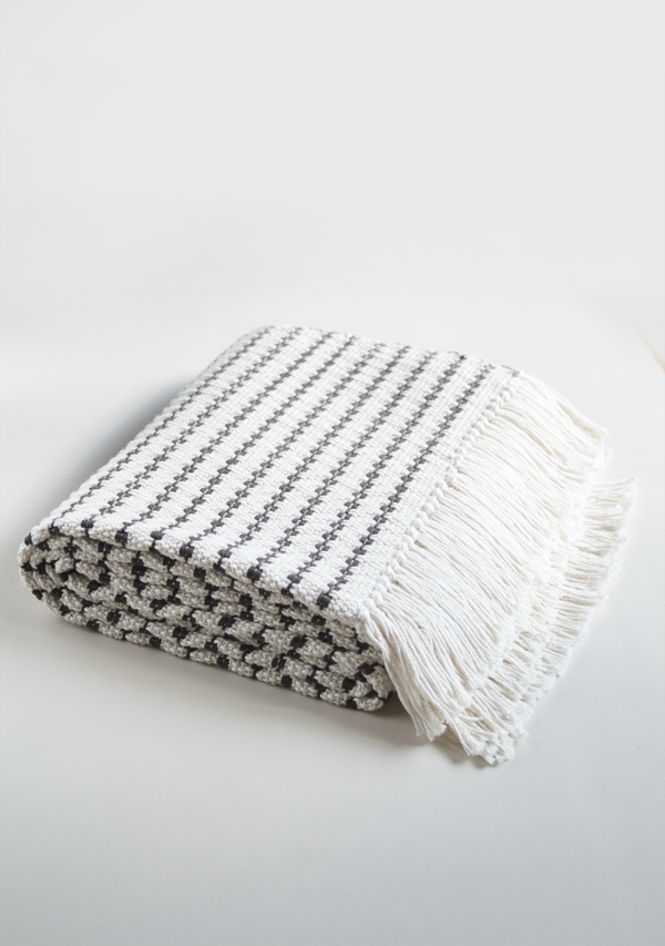 Handwoven Grey Dots Blanket