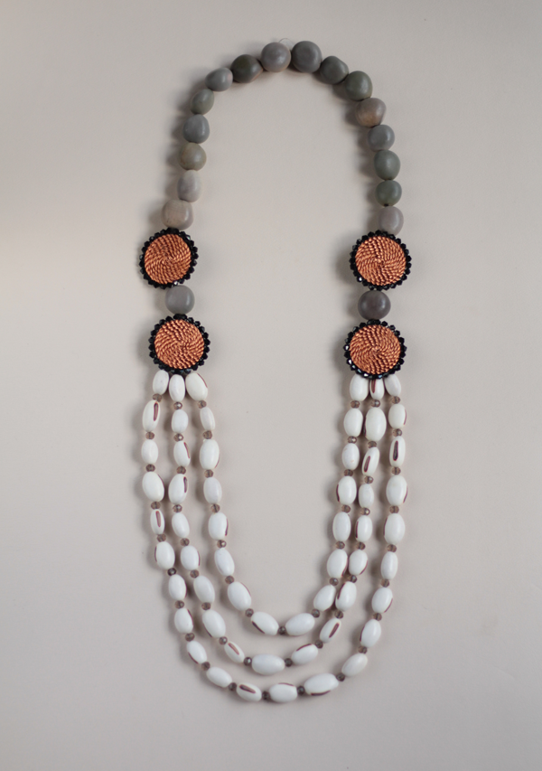 Double White Circle Necklace