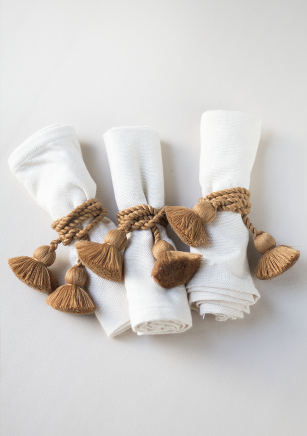 Raw Cotton Napkins and Copper Napkinrings - Lula Mena