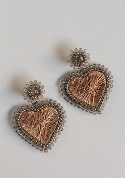 Small Copper Heart Earrings