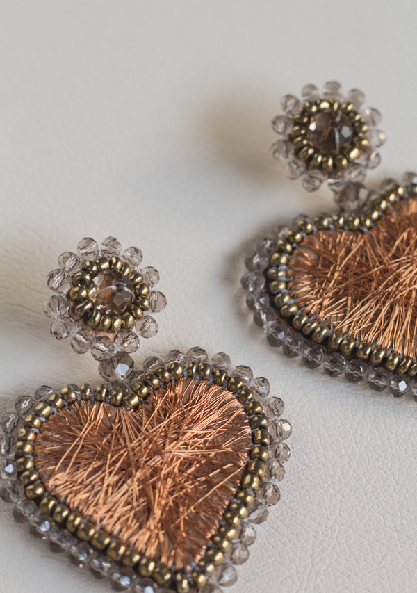 Small Copper Heart Earrings - Lula Mena
