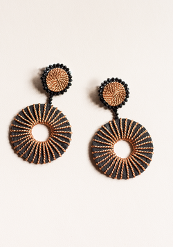 Black Double Circle Earrings